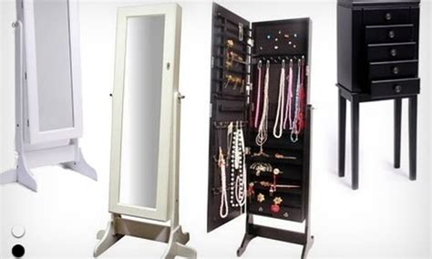 meuble miroir coffre avec rangements bijoux et accessoires au choix groupon shopping