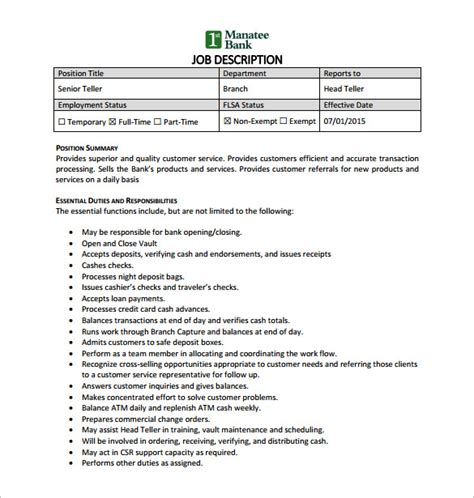 Questions For Teller Position In A Bank by 9 Bank Teller Description Templates Free Sle
