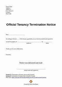 end of tenancy letter template from landlord to tenant With landlord termination of lease letter template