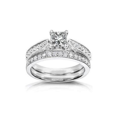 inexpensive antique diamond wedding ring set   white