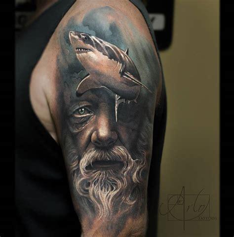 poseidon shark sleeve  tattoo design ideas