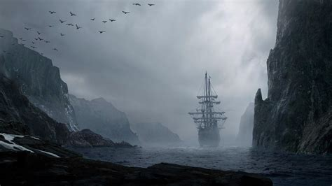 foggy landscape   ship hd wallpaper wallpaper