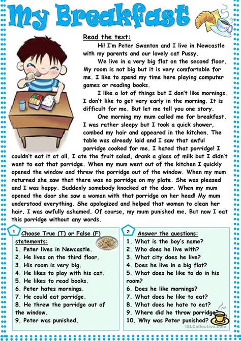 breakfast worksheet  esl printable worksheets