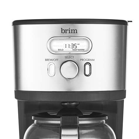 It's optimized to provide complete saturation of grounds at the perfect water temperature to allow the beans to fully bloom for a balanced, nuanced cup of coffee. 14 Cup Programmable Coffee maker, Stainless Steel - BRIM