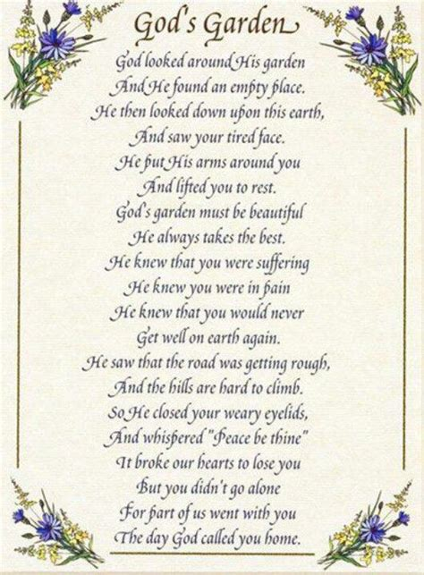 gods garden funeral poems memorial poems garden poems