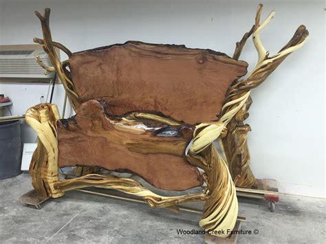 burl wood chairs rustic log bed unique wood juniper live edge