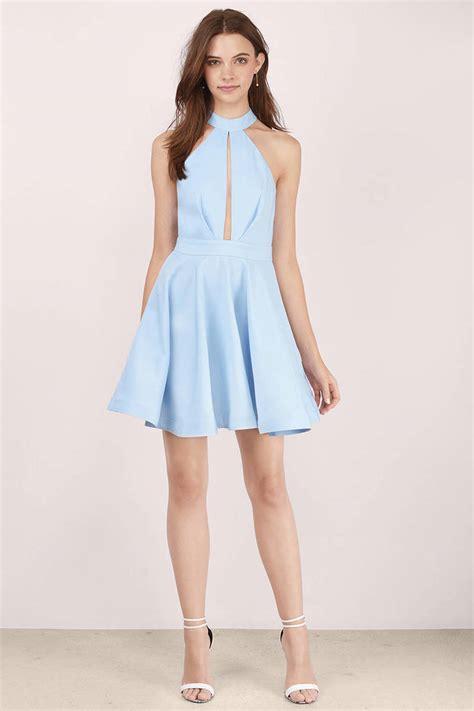light blue of the dress light blue skater dress mock neck dress 13 00