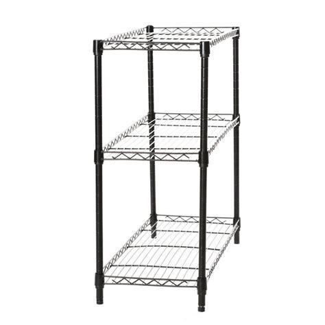 Wire Shelving by Black Storage Rack 3 Tier Organizer Kitchen Shelving Steel