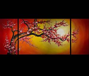 Chinese Cherry Blossom Feng Shui Oil Painting Abstract Art ...