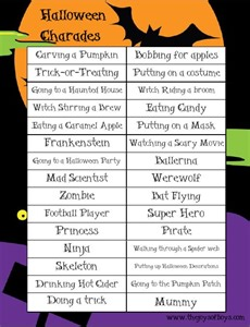 Halloween Mad Libs Online by Halloween Charades Free Printable Halloween Game Jeux D