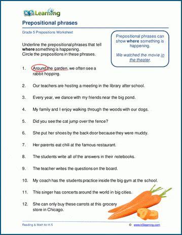 prepositional phrases worksheets  grade   learning