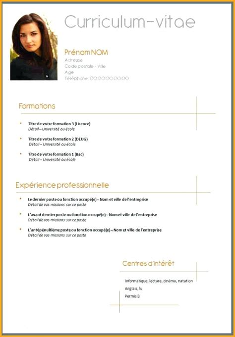 Mode De Cv by Modele Cv Simple Gratuit Exemple De Cv 2016 Degisco