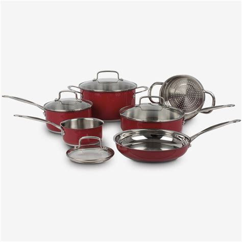 piece classic collection metallic stainless steel cookware set red ca cuisinart