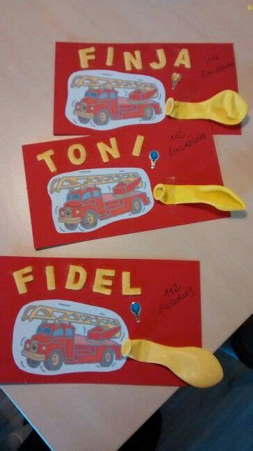 feuerwehrmann sam einladungskarten einladung zum feuerwehr geburtstsg kindergeburtstag kindergeburtstag basteln feuerwehr