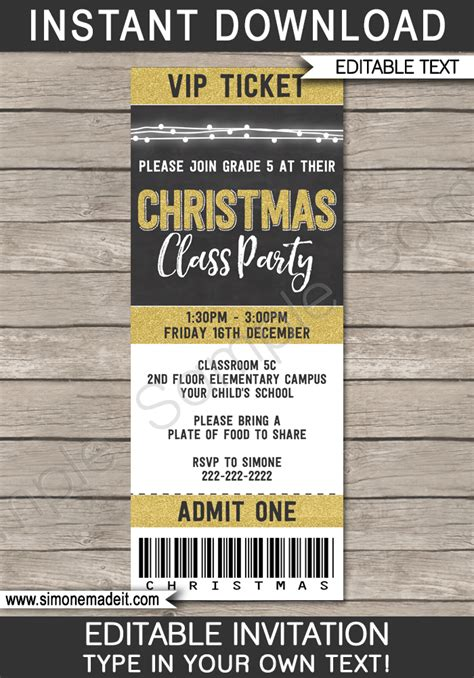 gold christmas party ticket invitations printable