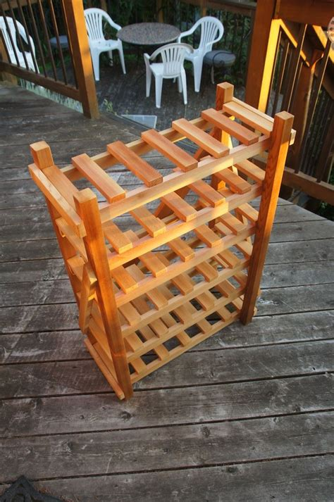 homemade wine rack cedar stained spray laquer