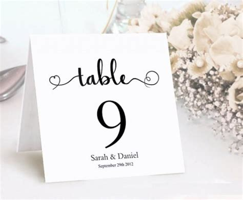 table numbers printable wedding table card template diy