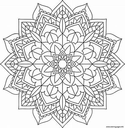 Mandala Coloring Easy Pages Floral Printable Prints