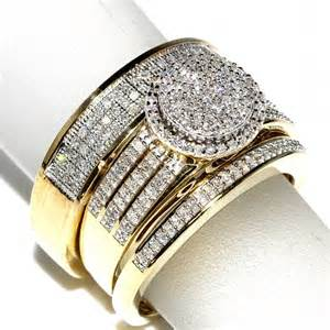 wedding rings sets for him and his and bridal rings set trio 0 65ct 10k yellow gold halo style wedding ring mens wide