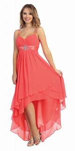 Coral High-Low Sleeveless Dress - Pink and Fuchsia Prom ...