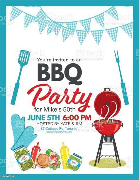 bbq party invitation template stock vector art