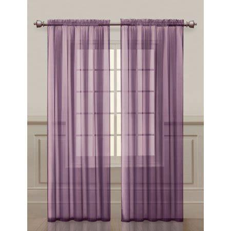 purple sheer rod pocket window curtain panels