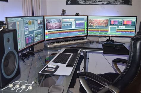 desk big enough for 2 monitors three lg uc 97 34 quot curved lcd monitors in eyefinity