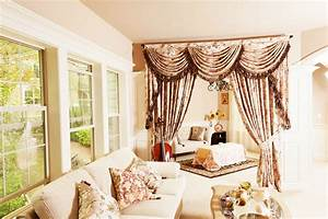 Valance curtains for living room with cello for Curtains with valance for living room