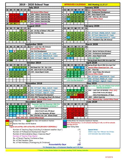 district calendar maury county public schools