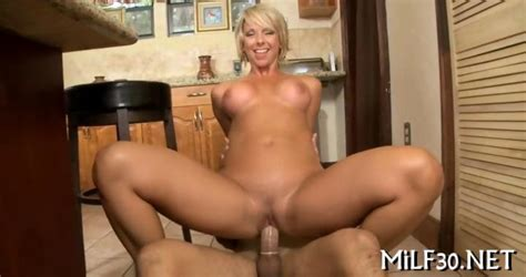 Short Hair Blonde Milf Sliding On A Fat Young Dick On