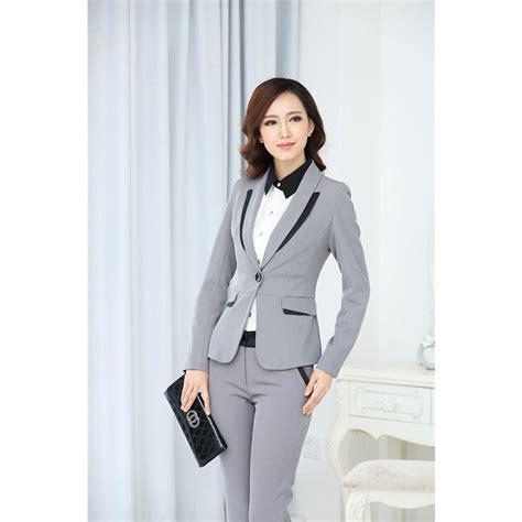 Light Gray Women Suits Interview Pants Suits Female Business Suit Office Uniform Bespoke B In