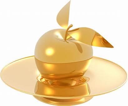 Apple Gold Golden Apples Metal Plate Silver