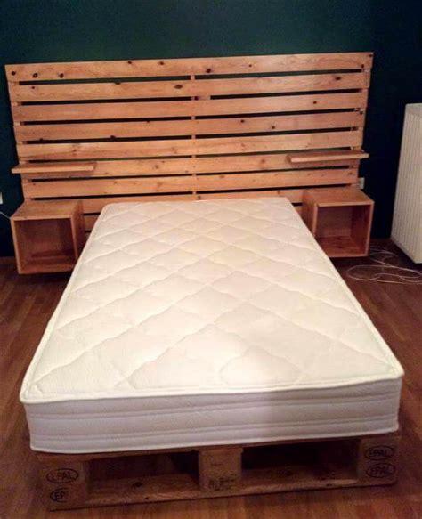 diy pallet bed  shelved headboard  pallets