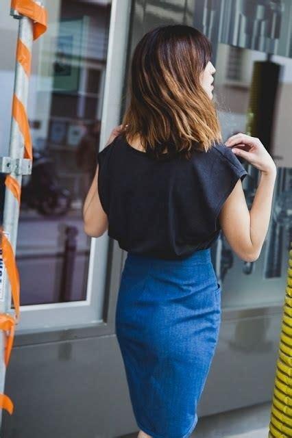 high waisted skirt blue black top blue high waisted skirt style style style
