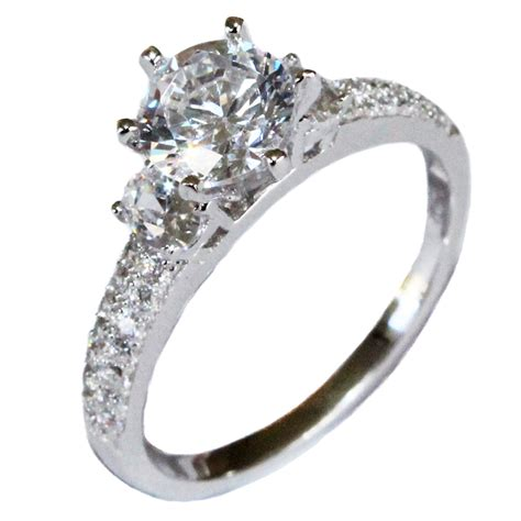 solitaire engagement ring solitaire promise ring white cubic zirconia