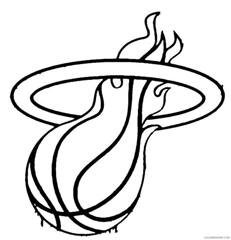 Miami Coloring Pages Heat Printable Kids Nba Coloring