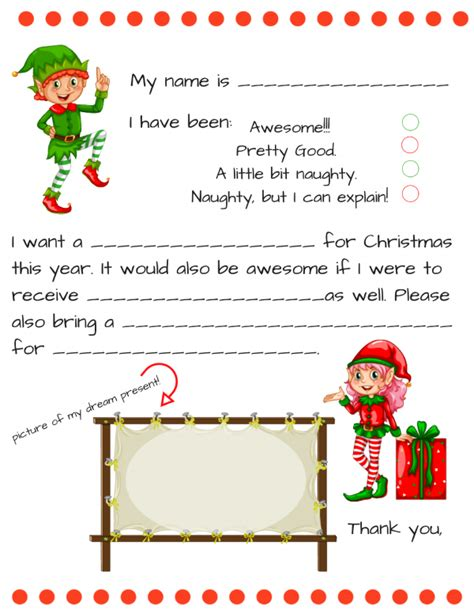Letter To Santa Template Dear Santa Fill In Letter Template