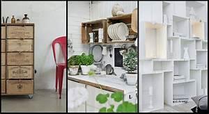 20 idees pour detourner des caisses en bois With idee deco cuisine avec objet decoratif a suspendre