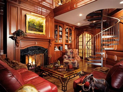 Home Library With Rich Wood And Spiral Staircase