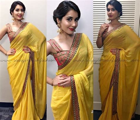 rashi khanna yellow saree style  makeup simple