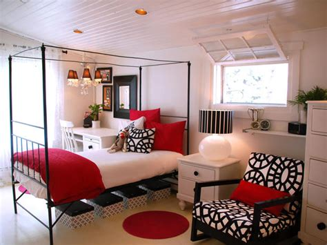 home design red and white bedroom