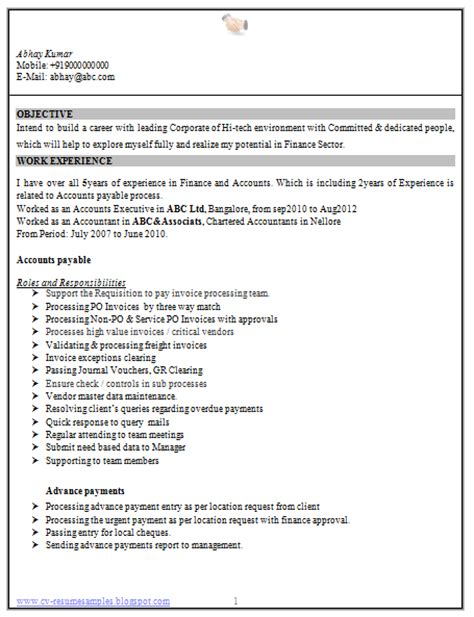 Experienced Resume Format For Accountant by 10000 Cv And Resume Sles With Free Experience Accountant Resume Sle