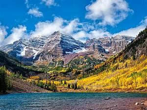 wonderful, autumn, landscape, mountain, lake, birch, and, pine