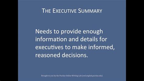 purdue owl layering reports  executive summary  youtube