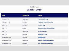 Japanese Calendar 2019 Printable with Holidays Japan