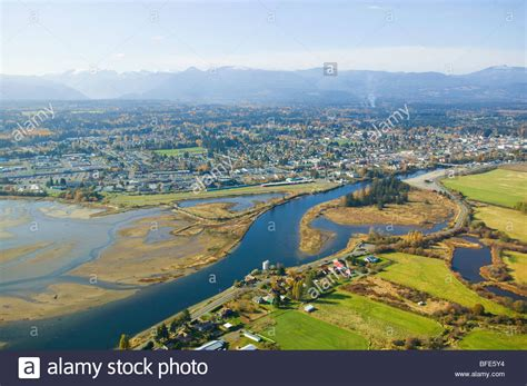 An Aerial View Of Comox Estuary Puntledge River And City ...