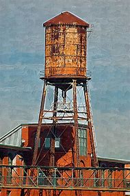 Old Water Tower Painting