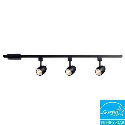 hton bay 39 37 in 3 light black led dimmable track