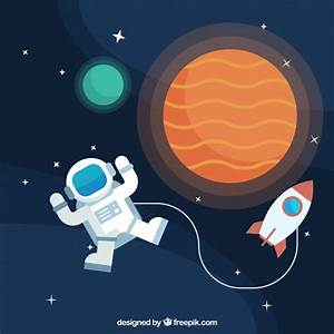 Background of astronauts with planets and rocket Vector ...