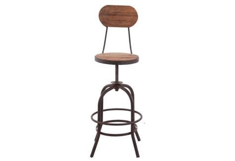 tabouret bois reglable en hauteur tabouret de bar avec dossier industriel en bois et m 233 tal r 233 glable v